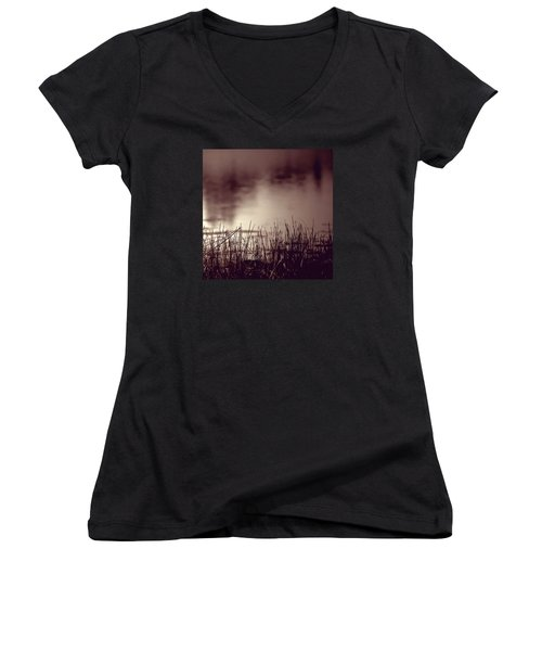Women's V-Neck T-Shirt (Junior Cut) featuring the photograph Solitude by Trish Mistric