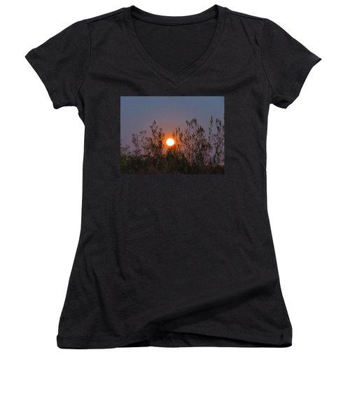 Sonoran Desert Harvest Moon Women's V-Neck T-Shirt