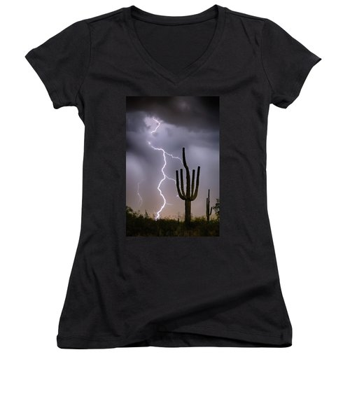 Women's V-Neck T-Shirt (Junior Cut) featuring the photograph Sonoran Desert Monsoon Storming by James BO Insogna