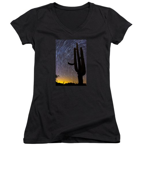 Sonoran Startrails - Reaching For The Stars Women's V-Neck (Athletic Fit)