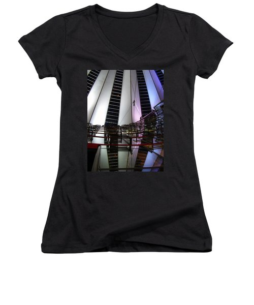 Sony Center II Women's V-Neck T-Shirt (Junior Cut) by Flavia Westerwelle
