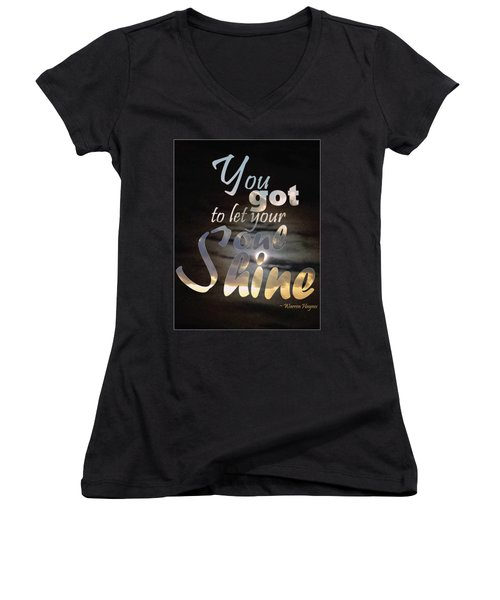 Women's V-Neck T-Shirt featuring the photograph Soul Shine by Thomasina Durkay