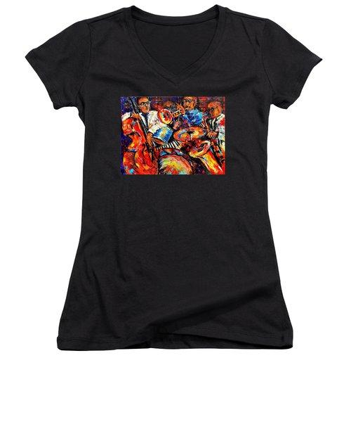 Sounds Of Jazz Women's V-Neck T-Shirt (Junior Cut) by Helen Kagan