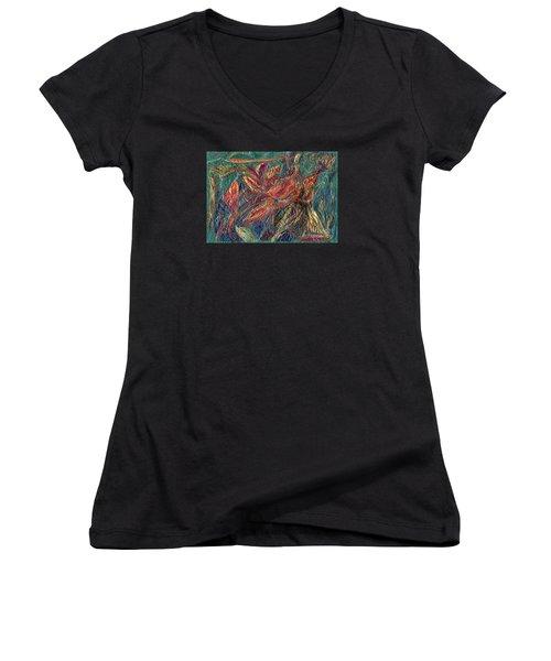 Sounds Of The Forest Women's V-Neck T-Shirt (Junior Cut) by Veronica Rickard