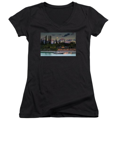 South Pacific Moonrise Women's V-Neck (Athletic Fit)