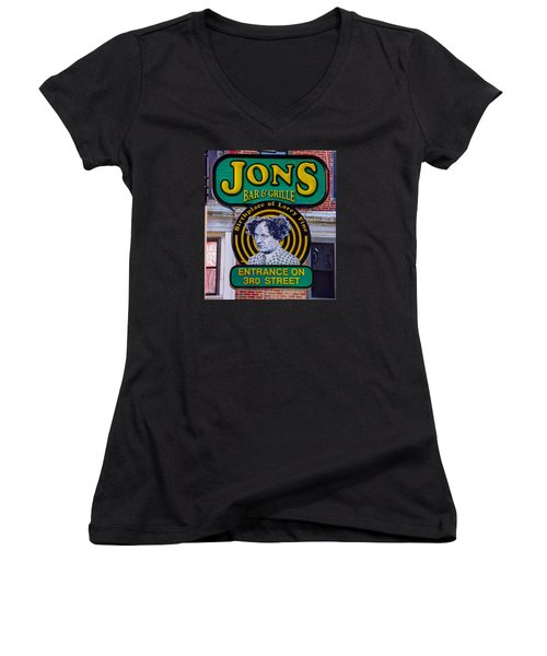 South Philly Skyline - Birthplace Of Larry Fine Near Jon's Bar And Grille-a - Third And South Street Women's V-Neck T-Shirt (Junior Cut) by Michael Mazaika