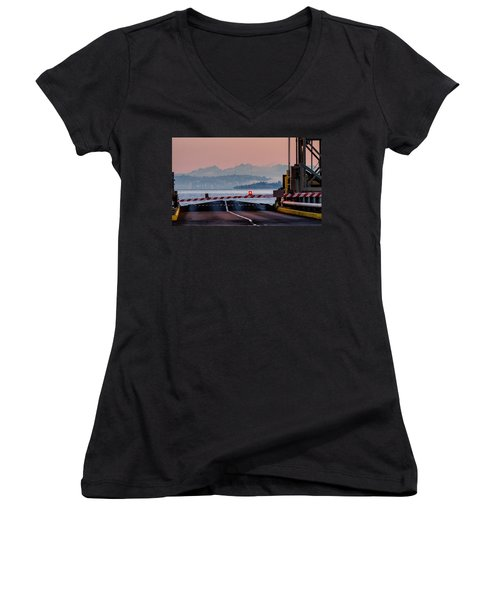 Southworth Ferry Terminal - End Of State Highway 160 Women's V-Neck T-Shirt (Junior Cut) by E Faithe Lester