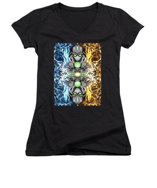 Space Alien Time Machine Fantasy Art Women's V-Neck