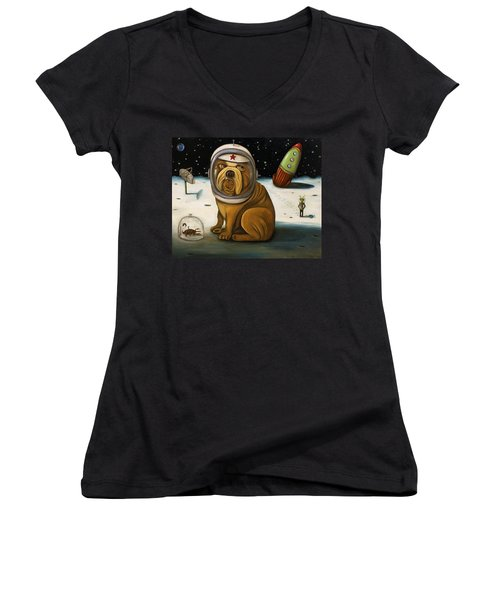 Space Crash Women's V-Neck T-Shirt