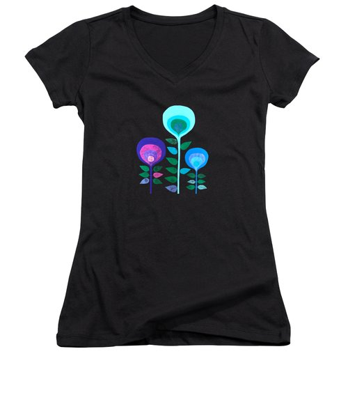 Space Flowers Women's V-Neck (Athletic Fit)
