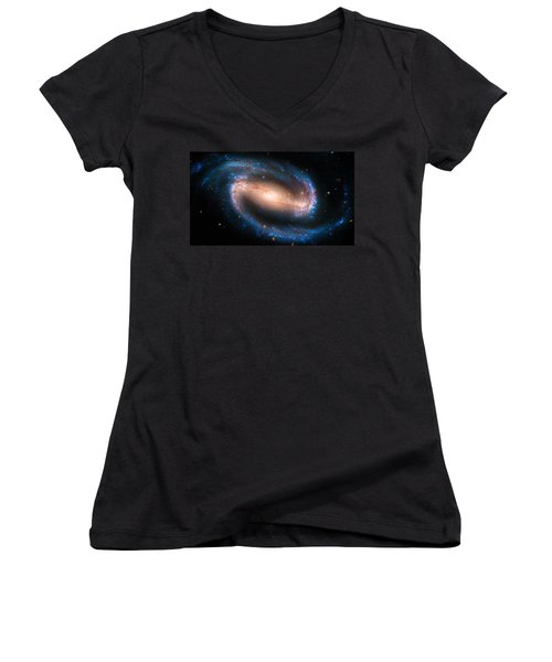 Space Image Barred Spiral Galaxy Ngc 1300 Women's V-Neck T-Shirt (Junior Cut) by Matthias Hauser