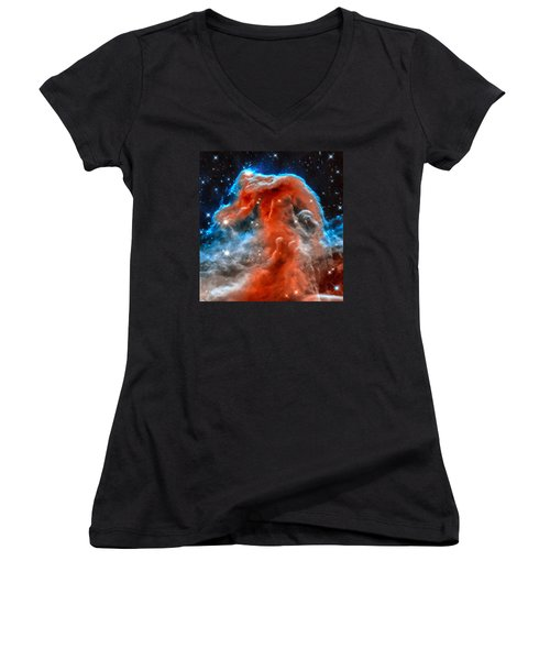 Space Image Horsehead Nebula Orange Red Blue Black Women's V-Neck (Athletic Fit)