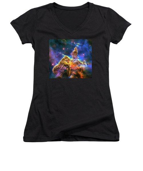 Space Image Mystic Mountain Carina Nebula Women's V-Neck T-Shirt (Junior Cut) by Matthias Hauser