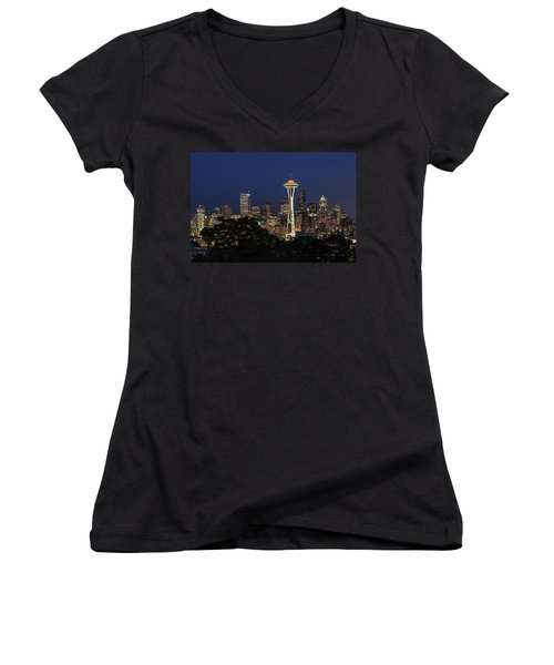 Women's V-Neck T-Shirt (Junior Cut) featuring the photograph Space Needle by David Chandler