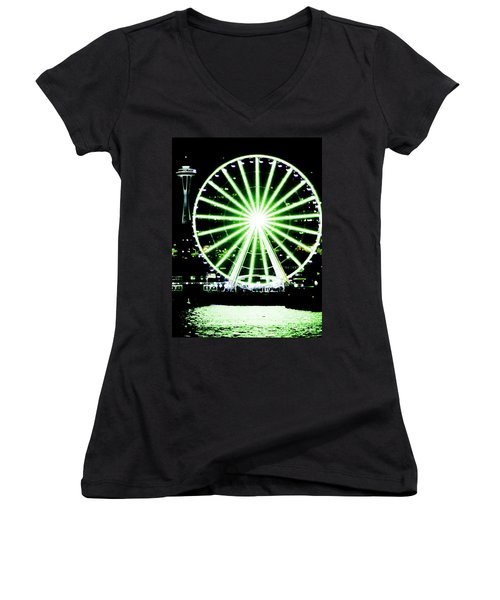 Space Needle Ferris Wheel Women's V-Neck (Athletic Fit)