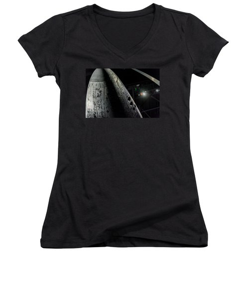 Space Shuttle Nose  Women's V-Neck T-Shirt (Junior Cut) by David Collins
