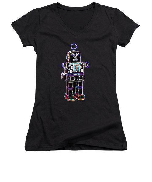 Spaceman Robot Women's V-Neck (Athletic Fit)