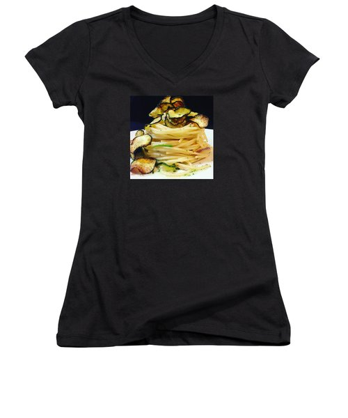 Spaghetti With Zucchini Women's V-Neck (Athletic Fit)