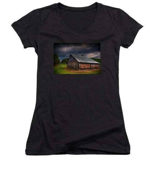 Spark Stoves Barn Women's V-Neck T-Shirt