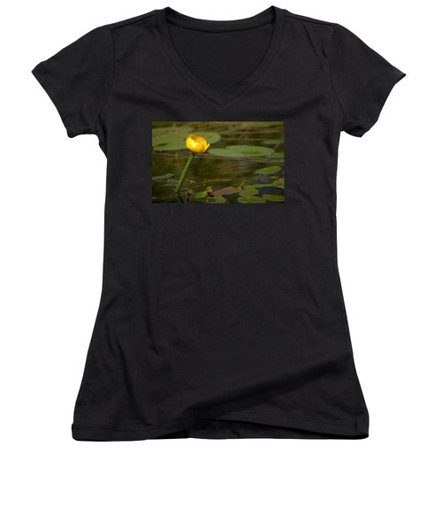 Women's V-Neck T-Shirt (Junior Cut) featuring the photograph Spatterdock by Jouko Lehto