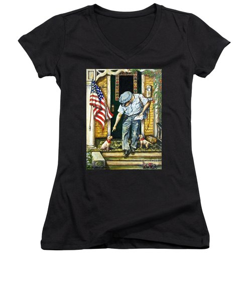 Special Delivery Women's V-Neck T-Shirt (Junior Cut) by Linda Simon