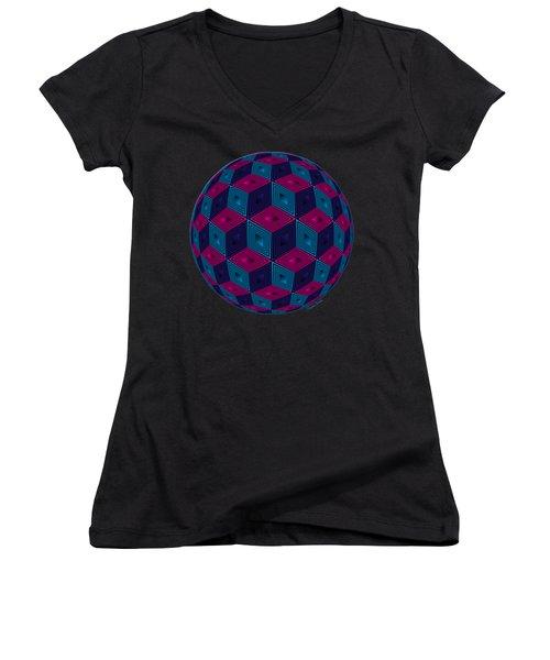 Spherized Pink Purple Blue And Black Hexa Women's V-Neck