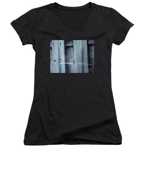 Women's V-Neck T-Shirt (Junior Cut) featuring the photograph Spider Web by Megan Dirsa-DuBois