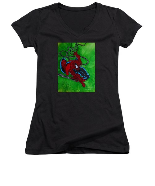 Spiderman 301 Illustration Edition Women's V-Neck T-Shirt
