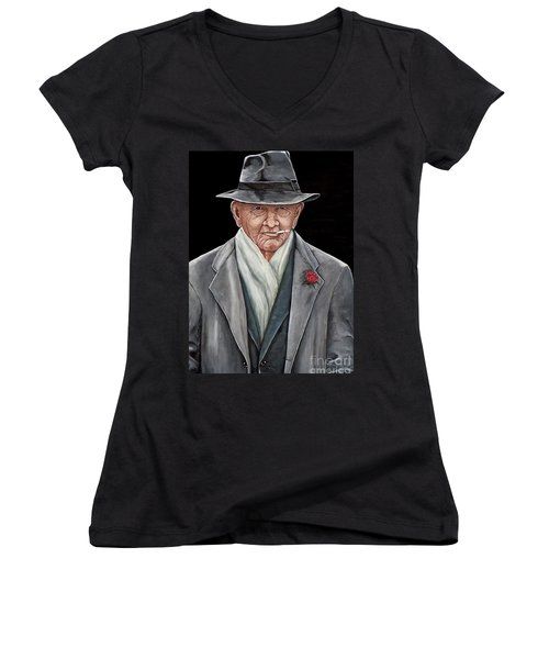 Women's V-Neck T-Shirt (Junior Cut) featuring the painting Spiffy Old Man by Judy Kirouac