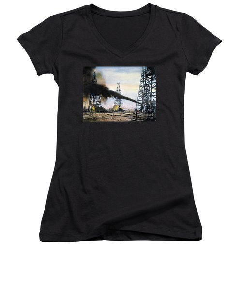 Spindletop Oil Pool, C1906 Women's V-Neck