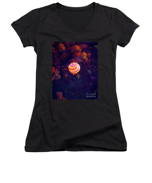 Spiral Colored Hot Air Balloon Over Fall Tree Tops Mchenry   Women's V-Neck