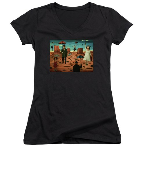 Women's V-Neck T-Shirt (Junior Cut) featuring the painting Spirits Of The Flying Umbrellas 3  by Leah Saulnier The Painting Maniac