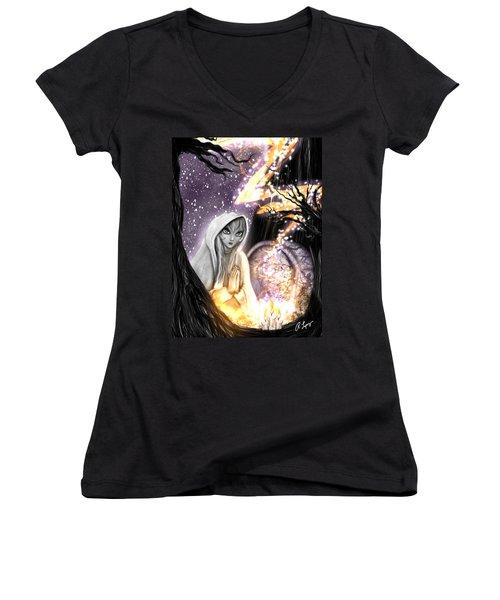 Spiritual Ghost Fantasy Art Women's V-Neck