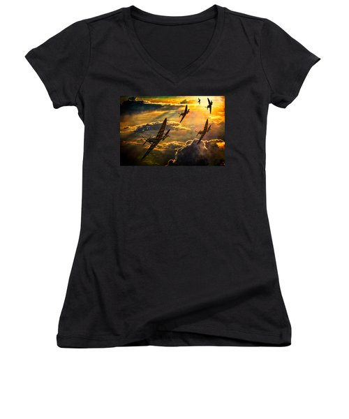 Women's V-Neck T-Shirt (Junior Cut) featuring the photograph Spitfire Attack by Chris Lord
