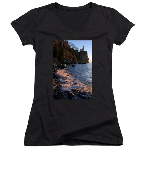 Split Rock Lighthouse At Dawn Women's V-Neck T-Shirt (Junior Cut) by Larry Ricker