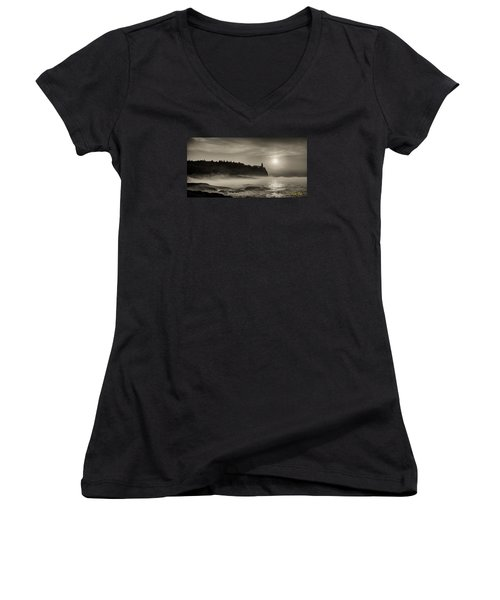 Split Rock Lighthouse Emerging Fog Women's V-Neck T-Shirt (Junior Cut) by Rikk Flohr