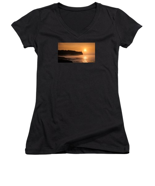 Women's V-Neck featuring the photograph Split Rock's Morning Glow by Rikk Flohr