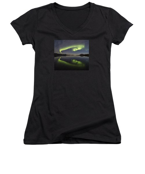 Spooky Face Women's V-Neck (Athletic Fit)