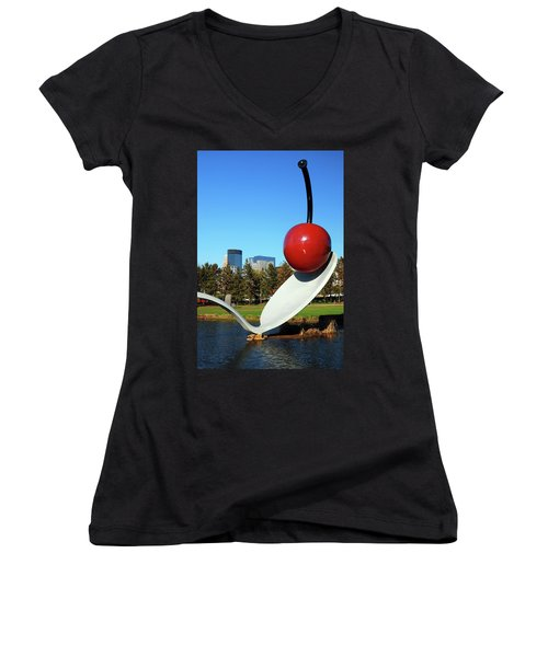 Spoonbridge Women's V-Neck T-Shirt (Junior Cut) by James Kirkikis