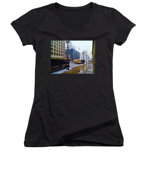 Spring Day In Chicago Women's V-Neck T-Shirt (Junior Cut) by Dave Luebbert