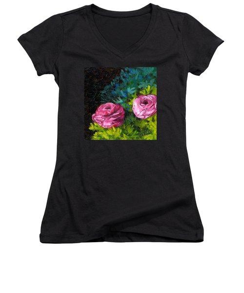 Spring Dewdrops Women's V-Neck T-Shirt (Junior Cut) by Alice Leggett