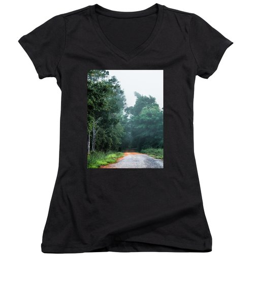 Women's V-Neck T-Shirt (Junior Cut) featuring the photograph Spring Dirt Road by Shelby Young