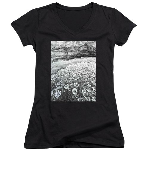 Women's V-Neck T-Shirt (Junior Cut) featuring the drawing Spring Flowers by Anna  Duyunova