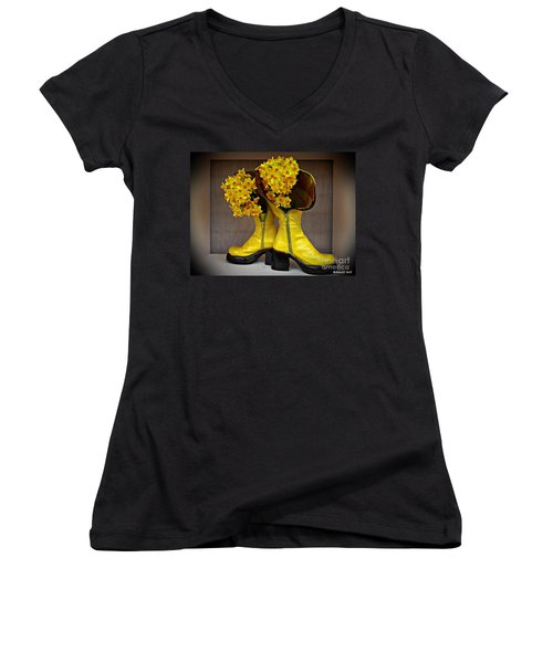 Spring In Yellow Boots Women's V-Neck T-Shirt (Junior Cut) by AmaS Art