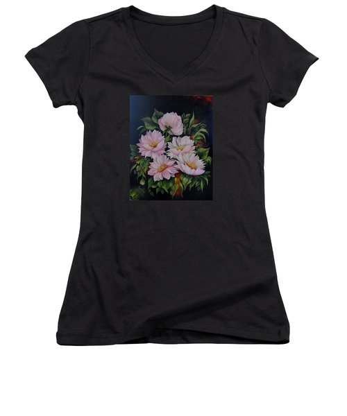Spring Messangers Women's V-Neck T-Shirt (Junior Cut) by Katia Aho