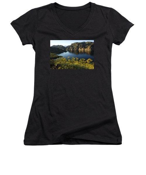 Spring Morning At The Lake Women's V-Neck T-Shirt (Junior Cut) by Sue Cullumber