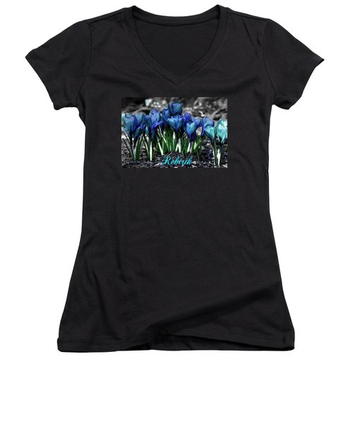 Women's V-Neck T-Shirt (Junior Cut) featuring the photograph Spring Rebirth - Text by Shelley Neff
