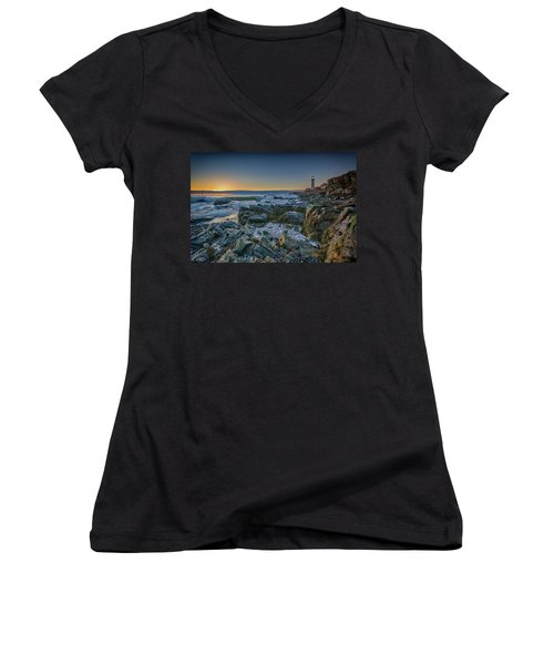 Women's V-Neck T-Shirt (Junior Cut) featuring the photograph Spring Sunrise At Portland Head by Rick Berk