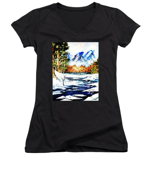 Women's V-Neck T-Shirt (Junior Cut) featuring the painting Spring Thaw by Al Brown