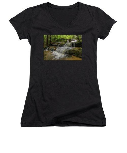 Spring Waterfall. Women's V-Neck T-Shirt (Junior Cut) by Ulrich Burkhalter